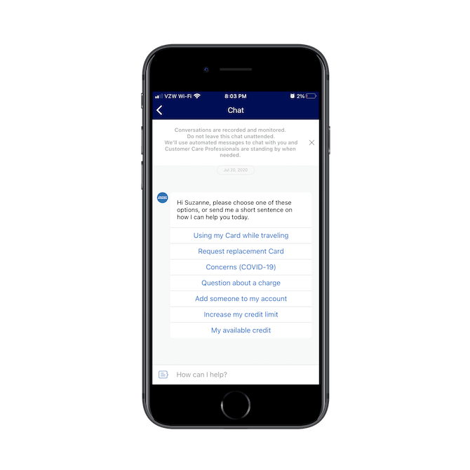 The AmEx mobile app chatbot greets the user by name and provides a list of queries like 'Using my Card while traveling' and 'Request replacement Card' for them to start with.