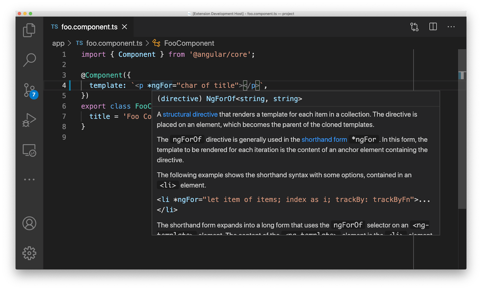 Angular Language Service inferring iterable types in templates