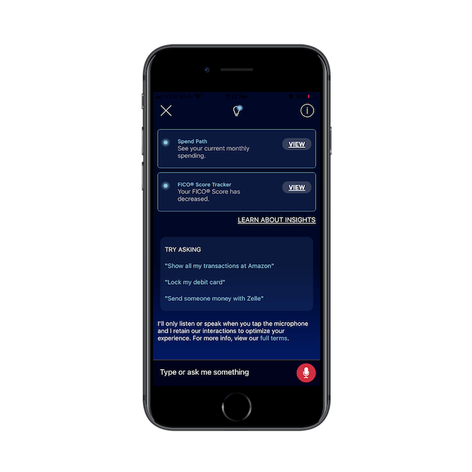 Bank of America's chatbot Erica provides account summaries and useful tips on what to ask the bot next, like 'Show all my transactions at Amazon'.