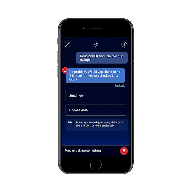 Bank of America mobile customers can ask Erica to transfer money between their checking and savings accounts on their behalf.