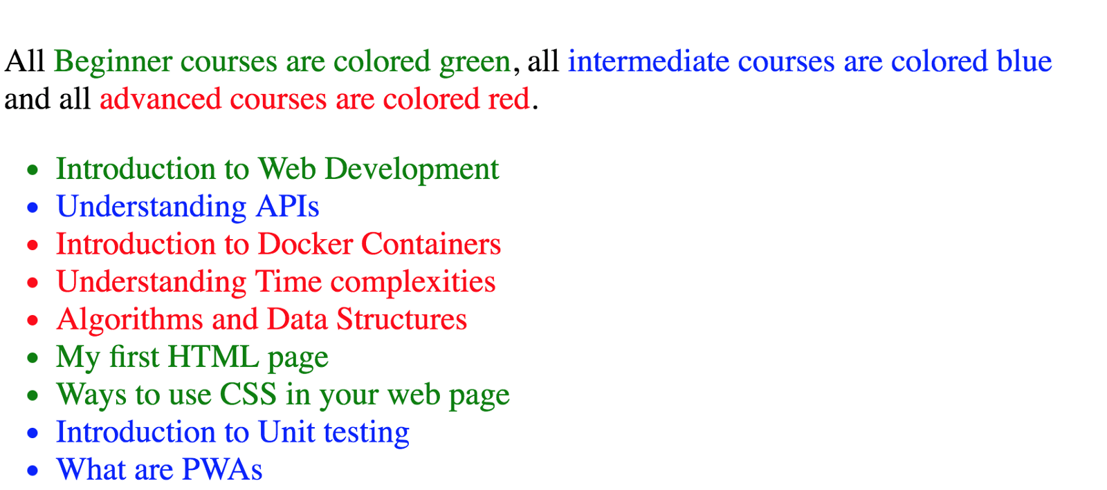 The same paragraph as above, now with a list of courses showing in green, blue or red based on their level.