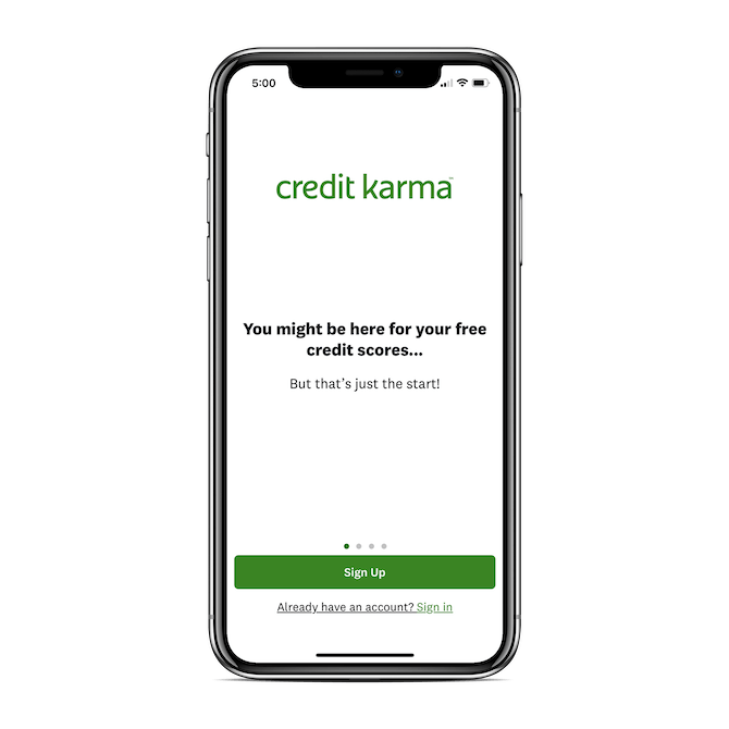 Credit Karma welcomes mobile users with a minimally designed splash screen and message: 'You might be here for your free credit scores… But that's just the start!'