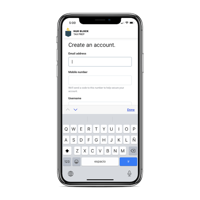 H&R Block's mobile app signup form includes well-designed and laid-out fields for Email address, Mobile number, and Username.