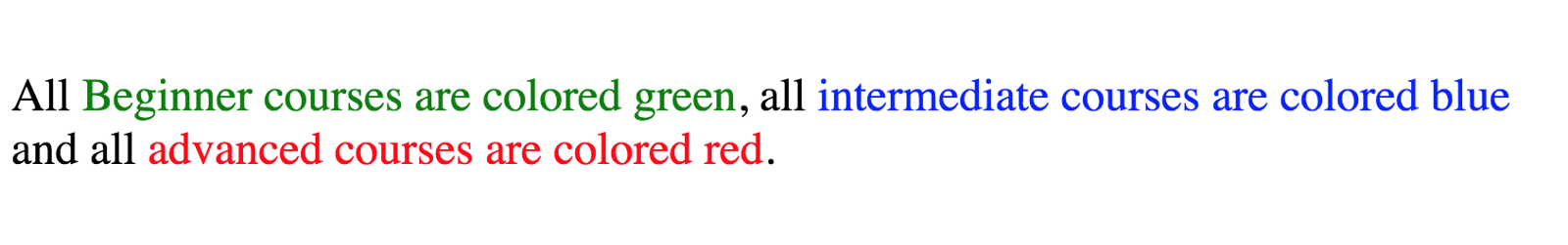 This paragraph is shown with the corresponding colors: All Beginner courses are colored green, all intermediate courses are colored blue and all advanced courses are colored red.
