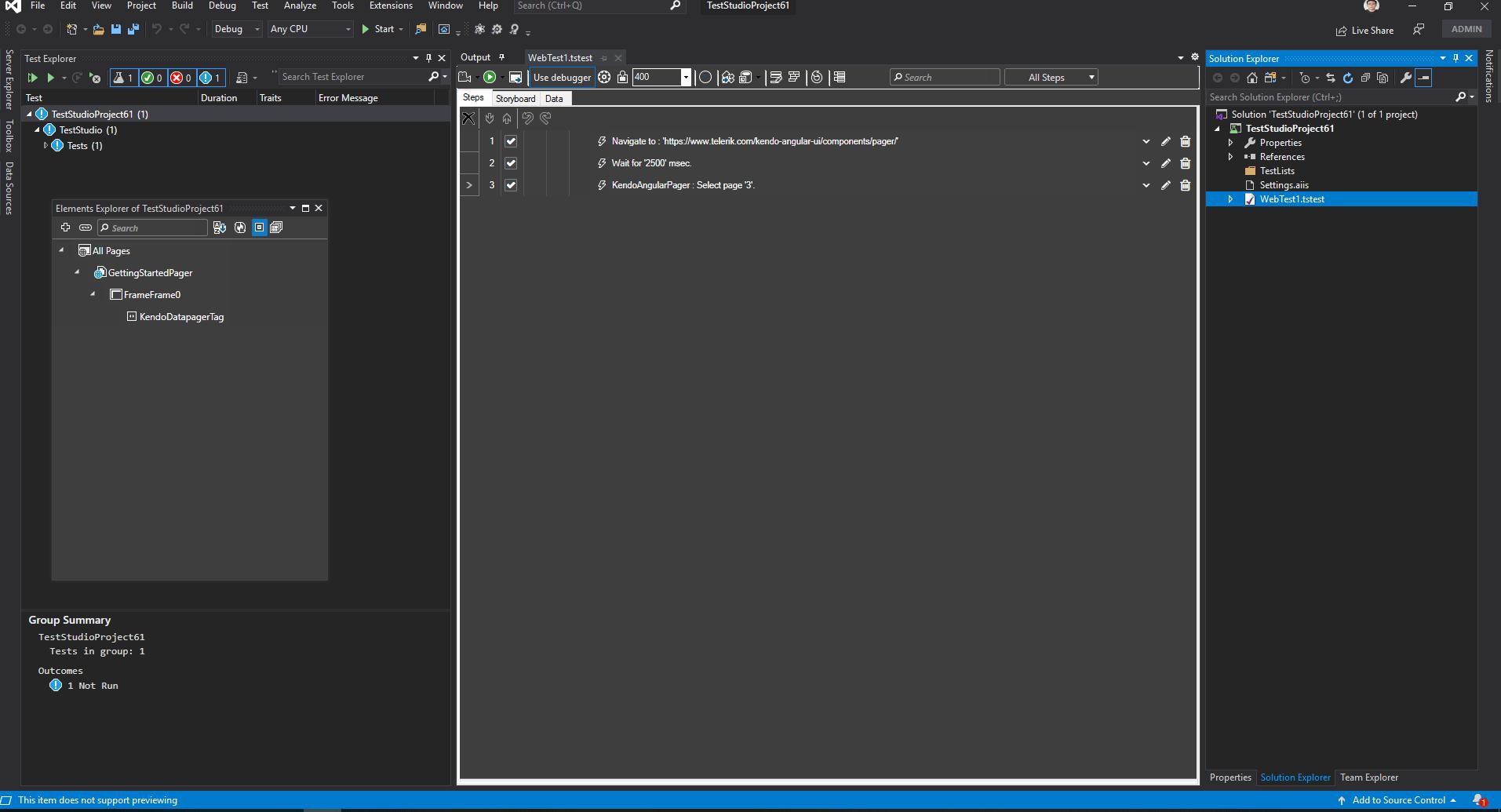 Test Studio - Visual Studio - Dark Theme