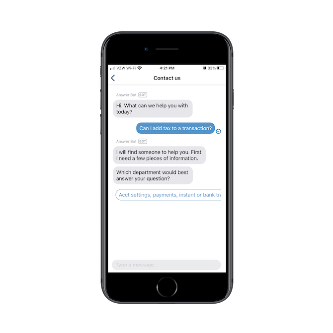 Venmo's mobile chatbot routes users that ask questions like 'Can I add tax to a transaction?' to the appropriate department.