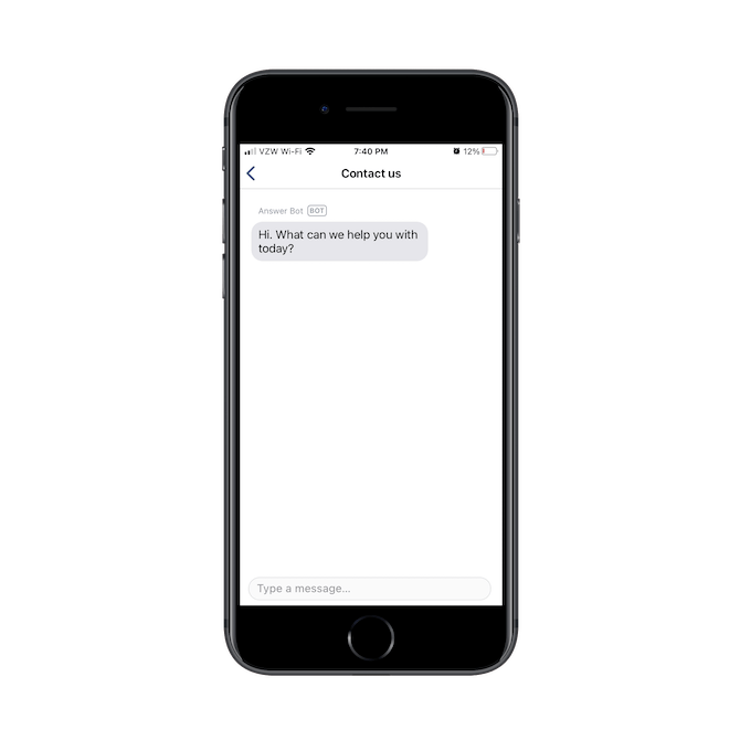 Venmo uses a chatbot to power the 'Contact us' page in its mobile app. It answers with a basic question: 'Hi. What can we help you with today?'