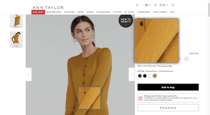 An example of what happens when someone zooms in on an Ann Taylor sweater on the website. The zoom feature reveals a blurry and tiny look at the fabric.