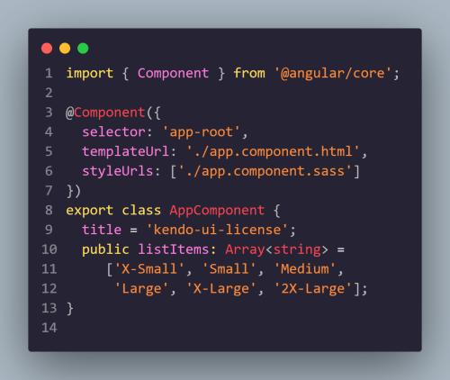 Kendo UI for Angular Licensing - App Component Code