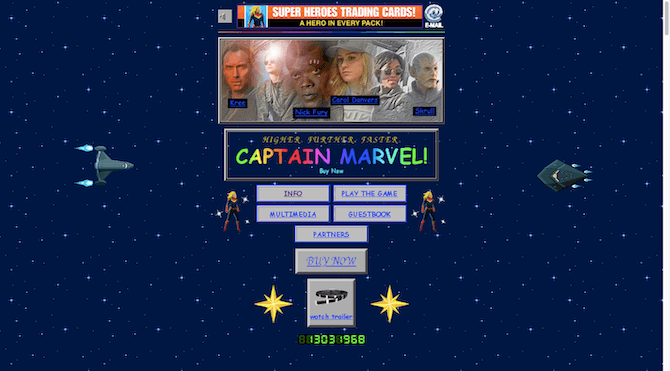 The Captain Marvel landing page looks just like a website pulled out of the '90s, with neon colors, distracting animations, auto-playing sound and a visitor counter.