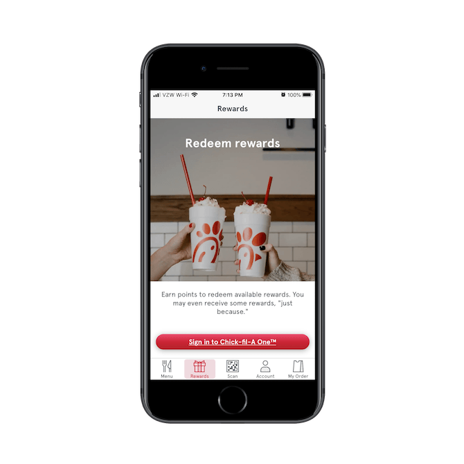 Chick-fil-A lets mobile app users — but not rewards program members — know all about the benefits of signing up with Chick-fil-A One.