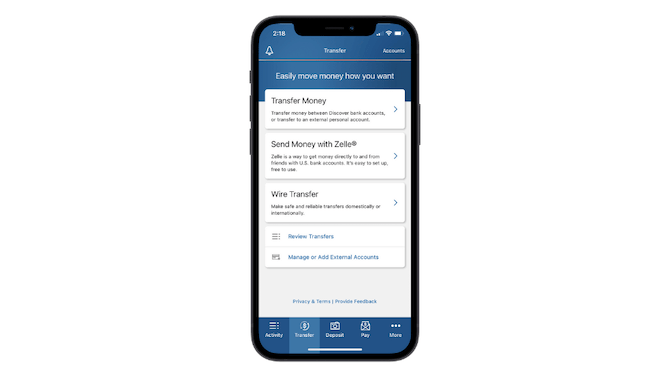 The Discover banking app includes a well-design navigation. There are tabs for Activity, transfer, Deposit, Pay and More with icons and succinct labels.