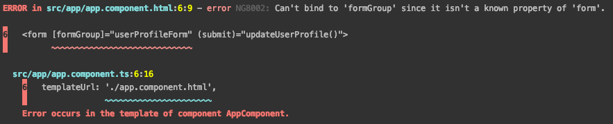 Can't bind to 'formGroup' since it isn't a known property of 'form' error in Angular 9