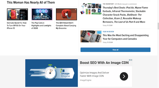 """The Gizmodo homepage includes an ad for Image CDN as well as a possibly sponsored post for """"Thursday's Best Deals""""."""
