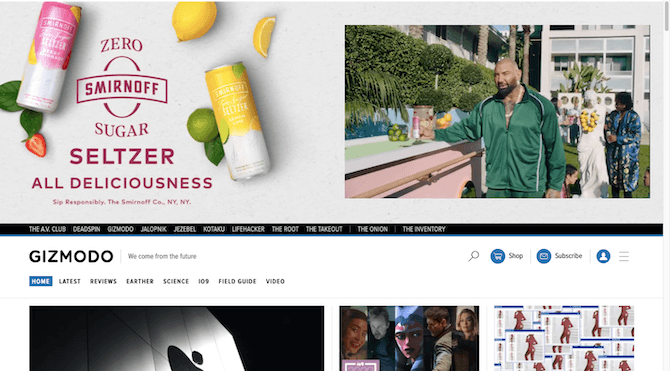 Gizmodo displays an oversized ad for Smirnoff Zero at the top of its homepage.
