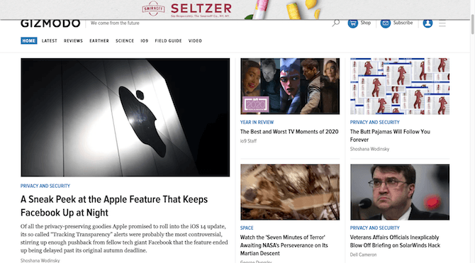 Gizmodo homepage visitors can scroll past Smirnoff seltzer ad, but then it slides back into view and covers part of the navigation.