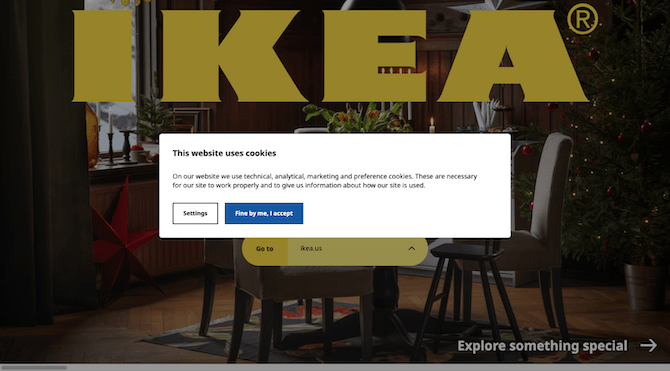 """Before visitors enter the IKEA website, they receive a brief explanation about why """"This website uses cookies"""". They have the option to accept or to adjust their cookies settings."""
