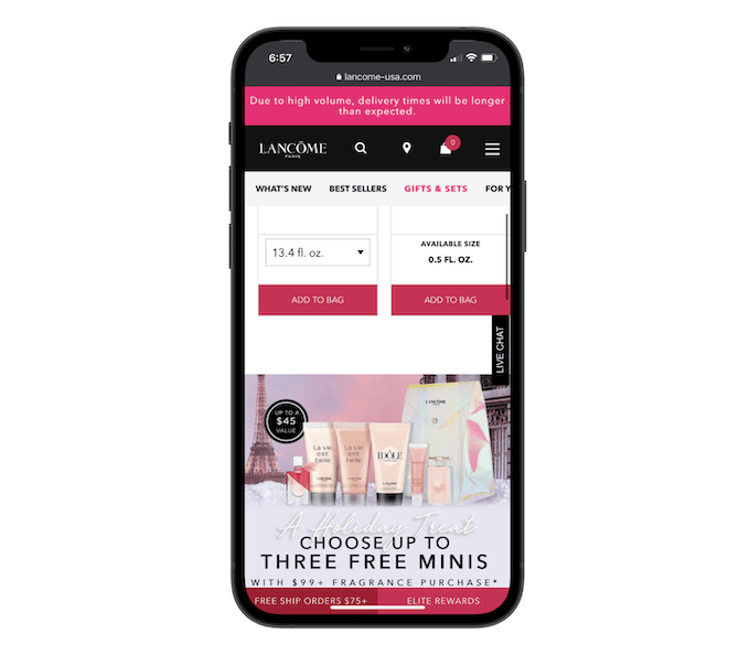 The Lancome progressive web app uses a hamburger menu in the top-right corner to aid visitors in navigation.
