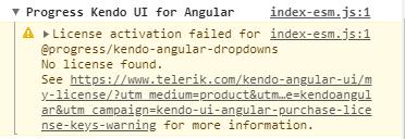 Kendo UI for Angular Licensing - License Message