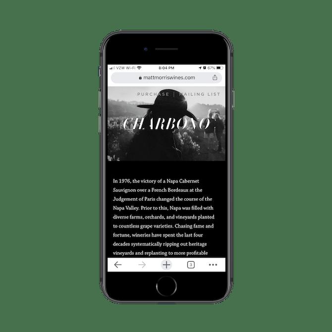 This is the mobile website for vintner, photography, and filmmaker Matt Morris.