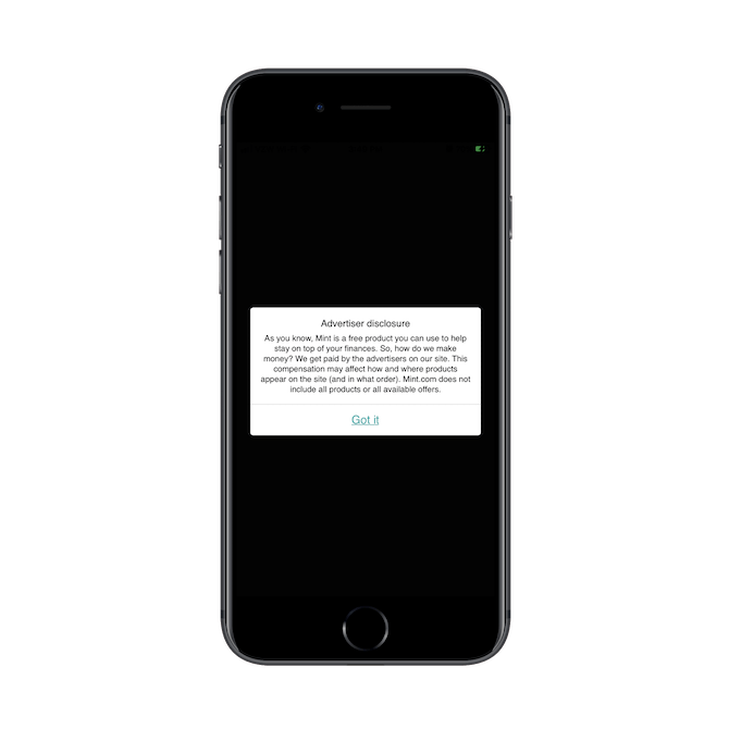 Mint lets its app users know that companies and products in its marketplace come from third-party advertisers and that this is how Mint makes money.