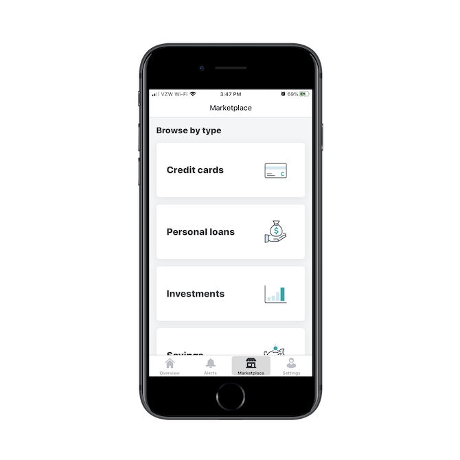 The Mint finance app makes money by promoting external financial products and services in its marketplace, like credit cards, personal loans and investments.