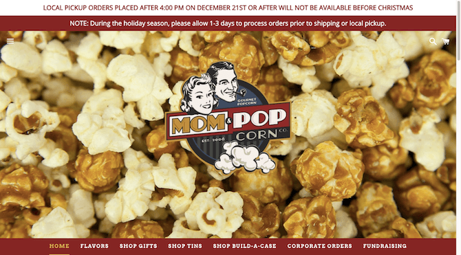 The Mom & Popcorn website balances images of its popcorn products with vintage-styled fonts, banners and logos.