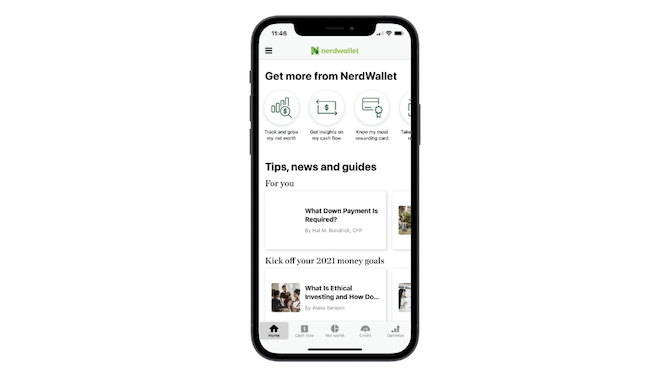 The Home tab of the NerdWallet app is overloaded with information: links to the money manager areas of the app as well as tips, news and guides links.