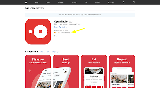 OpenTable has received 1.4 million user ratings in the Apple app store for a cumulative score of 4.9 out of 5.0.