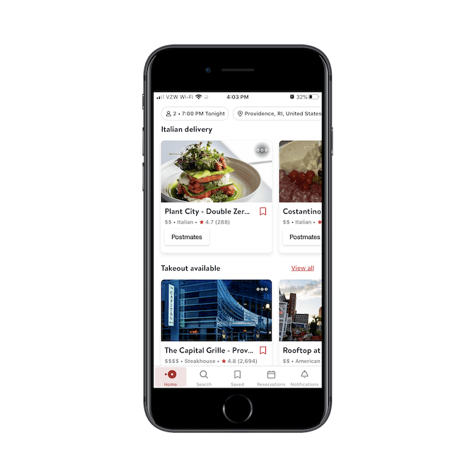OpenTable mobile app displays organic restaurant search results based on the user's query and displays relevant categories like 'Italian delivery' and 'Takeout available'.