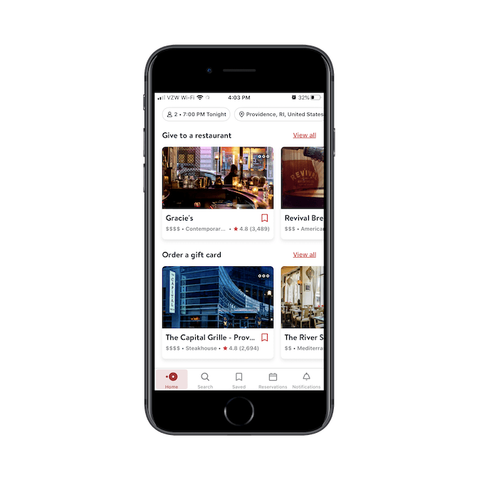 OpenTable displays matching restaurant results based on a hierarchy of user needs. Restaurant reservations appear first with things like 'give to a restaurant' and 'order a gift card' appearing closer to the bottom.