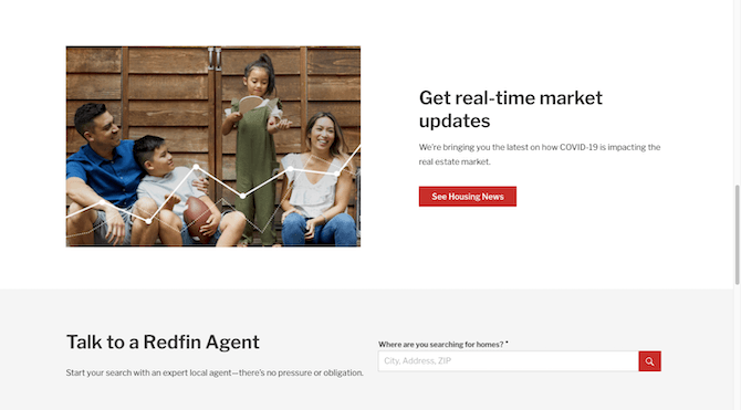 The Redfin home page leaves the navigation bar affixed to the top of the site. Visitors have to scroll back to the top of the page to find it.