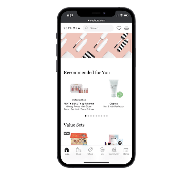 The Sephora website uses a bottom-aligned navigation that includes links to Home, Shop, Offers, Me, Community, and Stores.