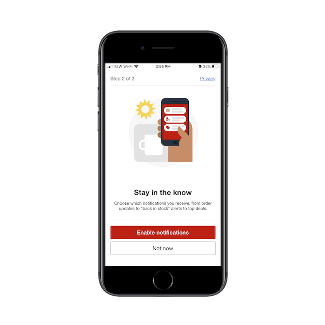 Target asks users if they want to 'enable notifications' during the mobile app onboarding process.