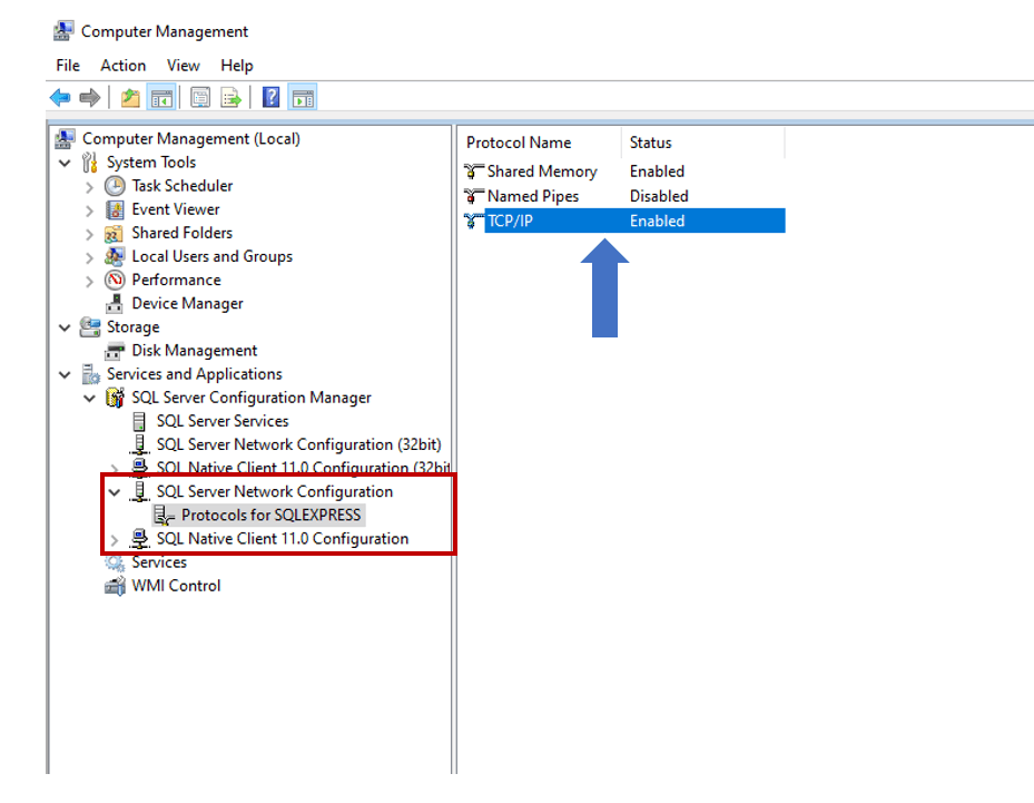 On the left, the file navigation shows: Computer Management (Local) > Services and Applications > SQL Server Configuration Manager >SQL Server Network Configuration > Protocol for SQLEXPRESS. On the right, under Protocol Name, TCP/IP is shown with status Enabled.
