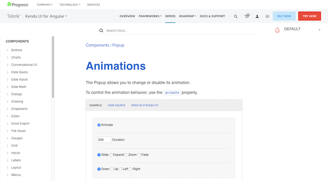 The Telerik Kendo guides provide demos and instructions on how to create animations for each of their components.
