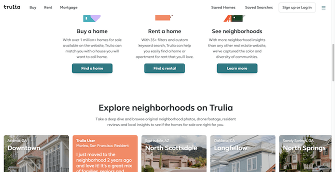 The Trulia home page uses a fixed, or sticky, navigation which makes it easier for visitors to navigate to other parts of the site.