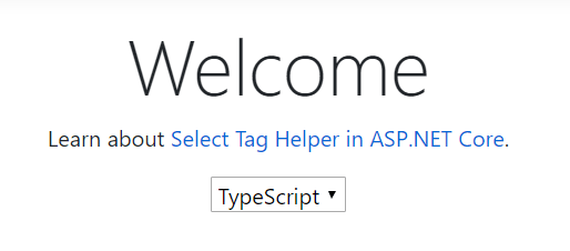 This time TypeScript shows in the window as the default selected language