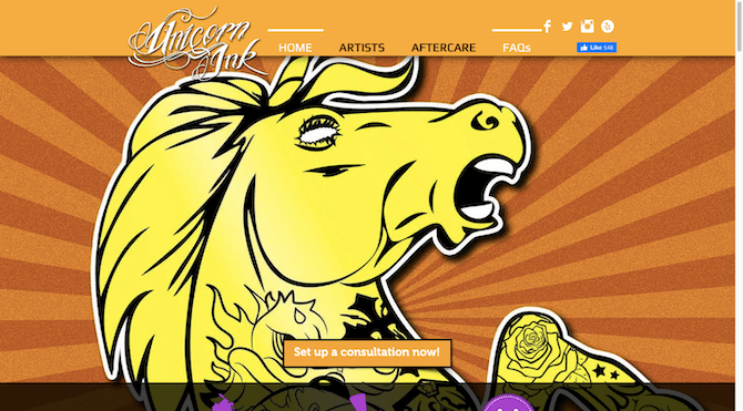 The homepage of the Unicorn Ink website includes links to four social media channels: Facebook, Twitter, Instagram and Yelp.