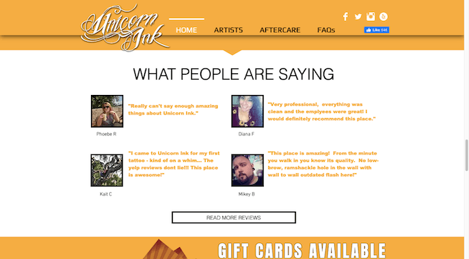 The Unicorn Ink website includes 4 testimonials with the customers' names, their photos and quotes from Yelp.