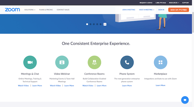 A section on the Zoom homepage that breaks down how the software provides one consistent enterprise experience with Meetings & Chat, Video Webinar, Conference Rooms, Phone System and Marketplace.