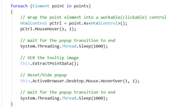 Code - PointsLoop - Mousehover Function
