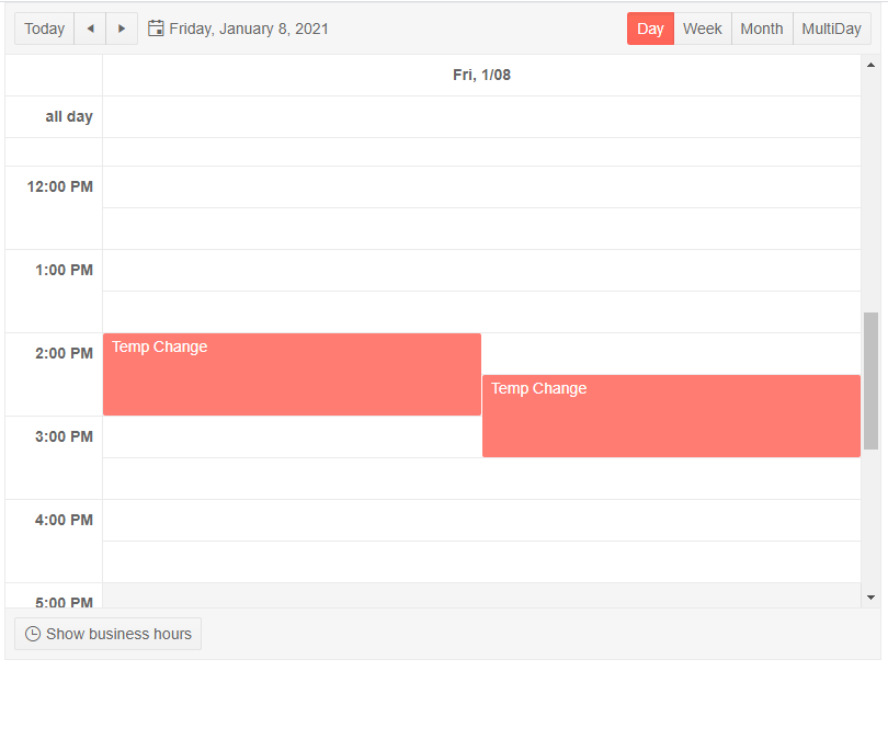 Scheduler in Day View with two Appointments, also showing tabs for Week, Month and Multiday