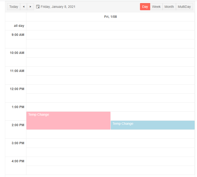 [Scheduler showing only times between 9am and 5pm