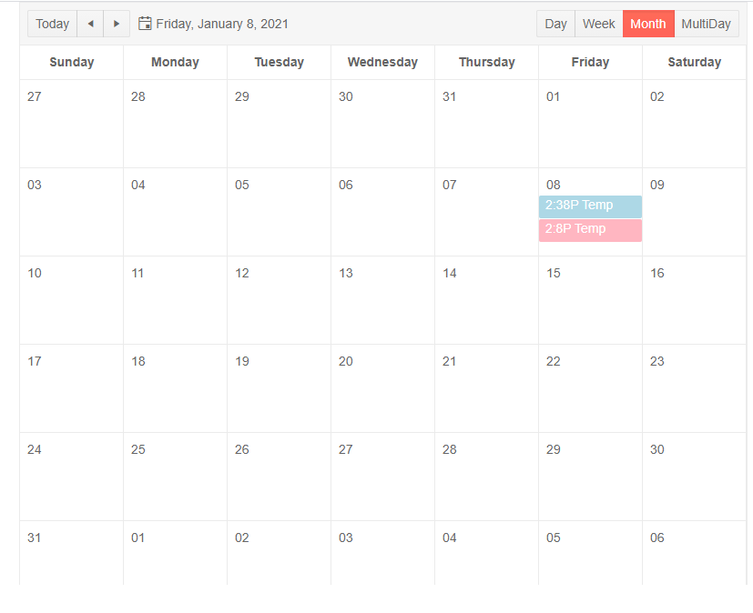 The Scheduler in month view with template text and blue or red backgrounds, depending on temperature