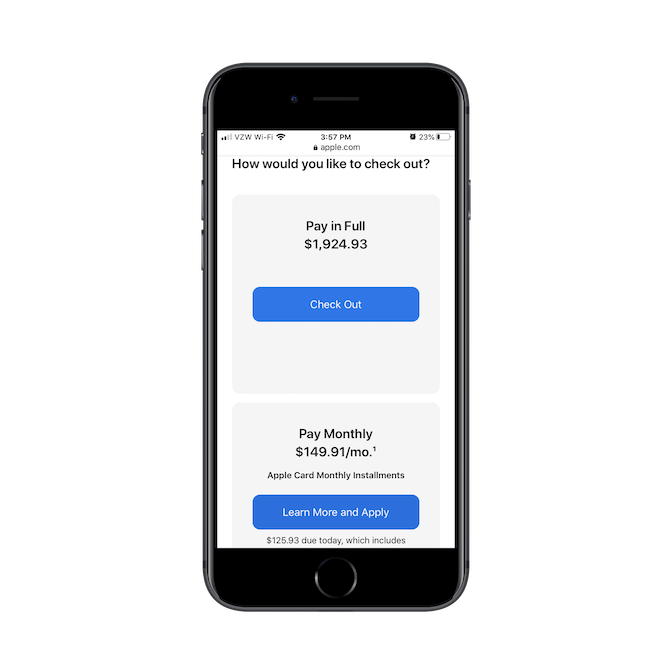 """At checkout, Apple users are given the option to pay in full and """"Check Out"""" or pay monthly and """"Learn More""""."""
