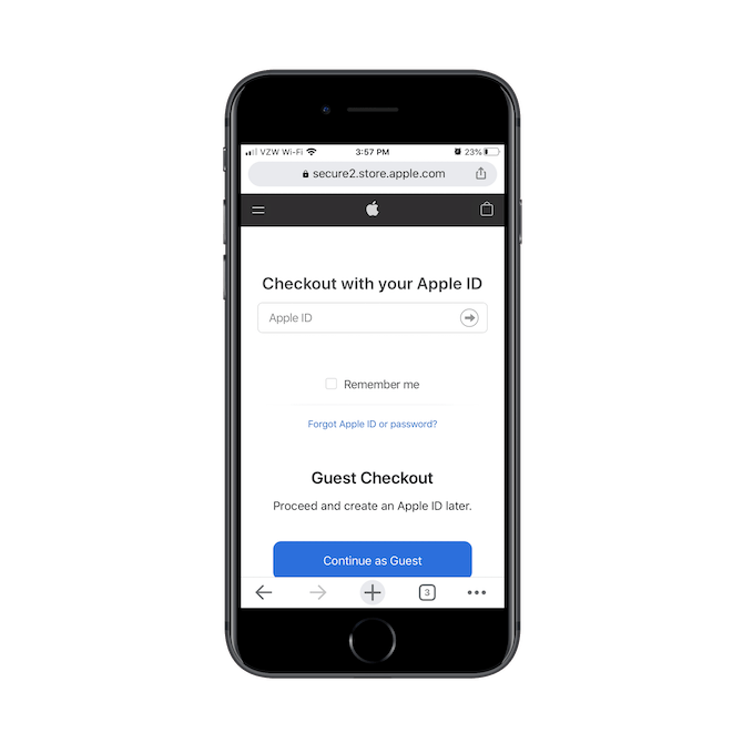 Apple asks customers to checkout with their Apple ID or to continue as a guest.