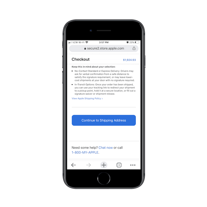 """Apple displays notes about """"No-contact Delivery"""" and """"In-transit Options"""" to users immediately after they select the type of delivery or pickup method they prefer."""
