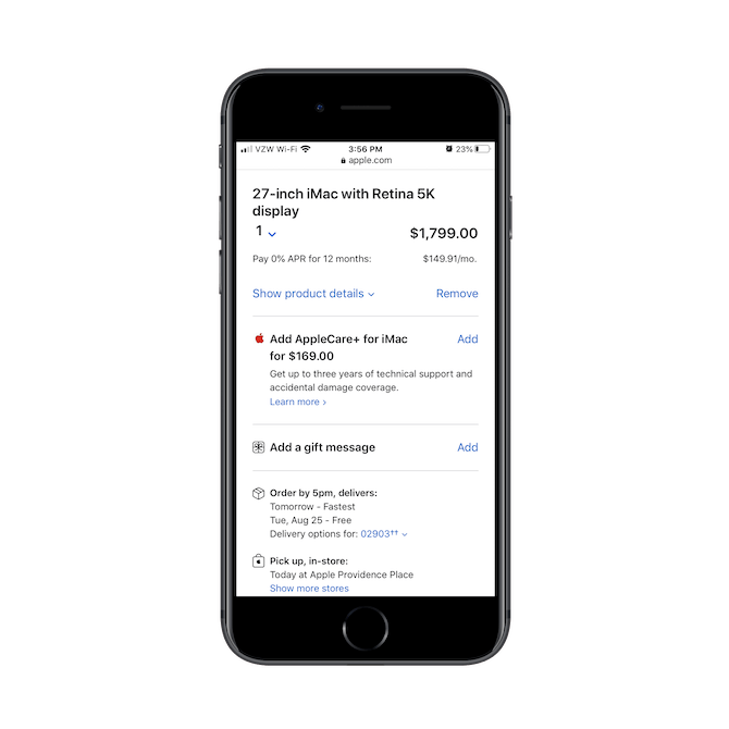 """Apple's mobile checkout process starts with a """"Review order"""" page where all details about the item (like the 27-inch iMac with Retina 5K display) are laid out along with shipping options."""