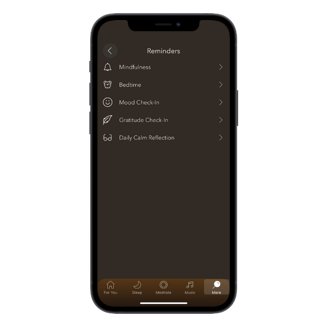 Calm mobile app reminder scheduling for Mindfulness, Bedtime, Mood Check-In, Gratitude Check-In, Daily Calm Reflection.